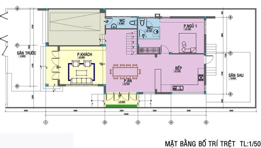 Mặt bằng tầng 1 mẫu biệt thự mini 2 tầng