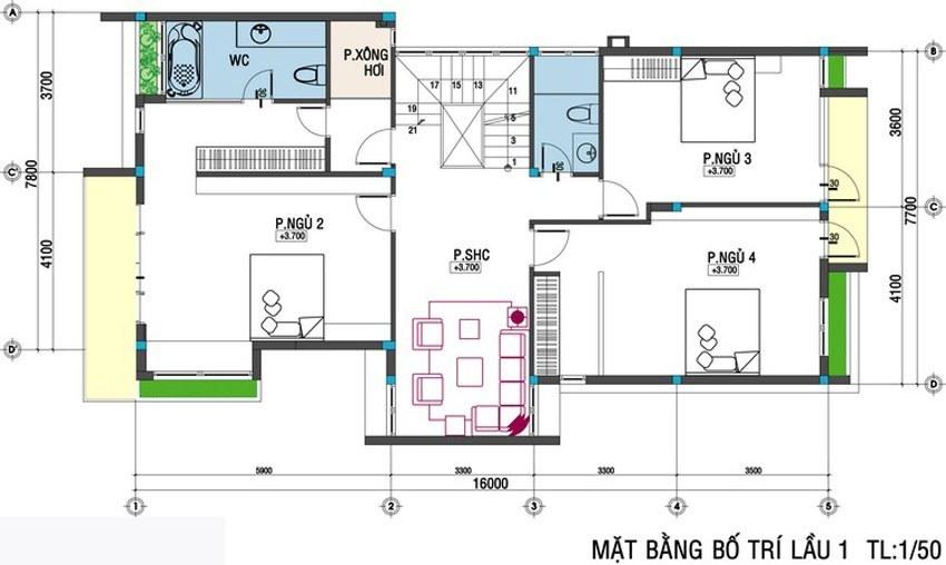 Mặt bằng tầng 2 mẫu biệt thự mini 2 tầng
